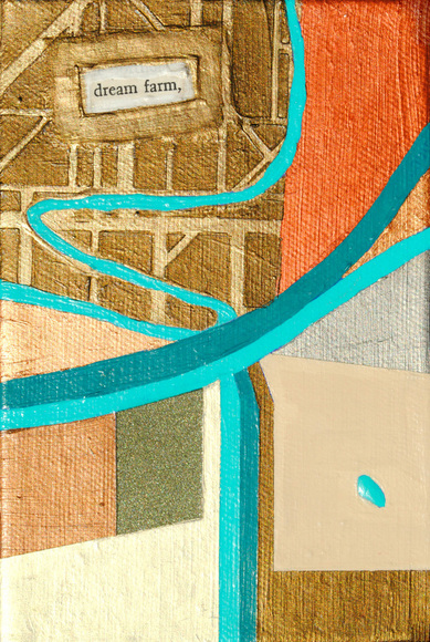 ©2013 Mary C. Nasser, Dream Farm, mixed-media/acrylic on canvas, 4 x 6 inches