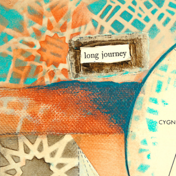 ©2013 Mary C. Nasser, Long Journey (detail), mixed-media/acrylic on canvas, 8 x 10 inches