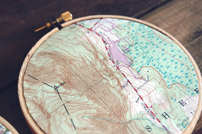 Vintage Map Embroidery Hoop Hanging
