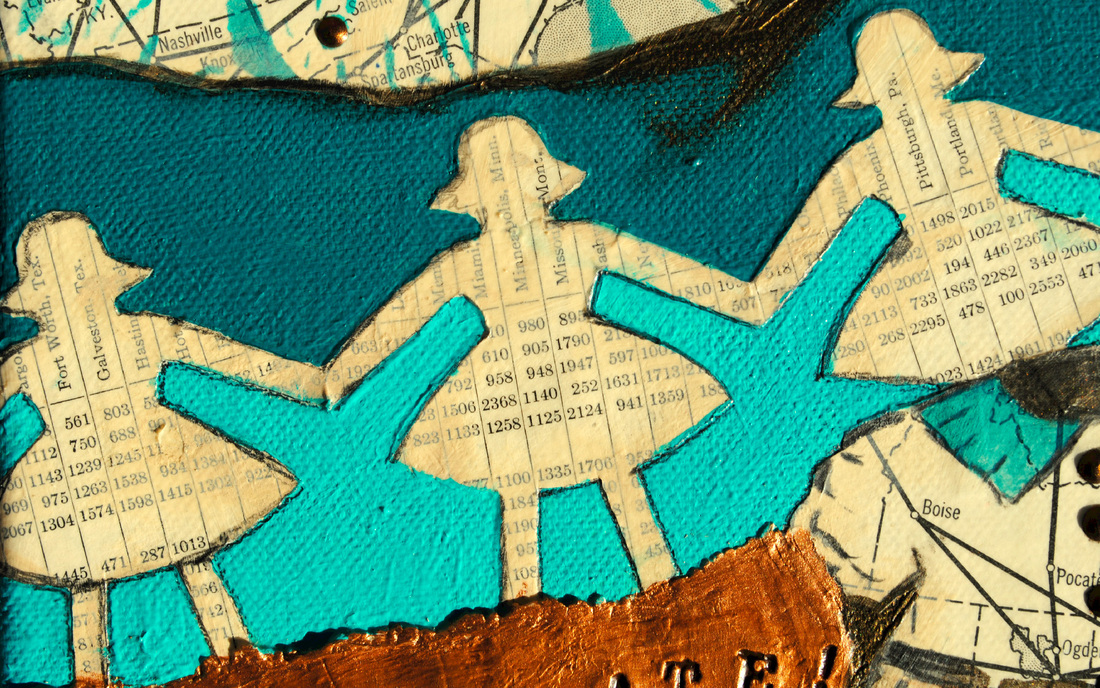 ©2013 Mary C. Nasser, Celebrate! (detail), mixed-media/acrylic on canvas, 8 x 10 inches