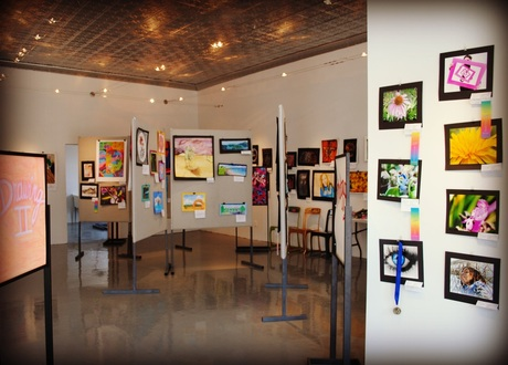 A portion of the regional high school exhibition at the new Art Center.