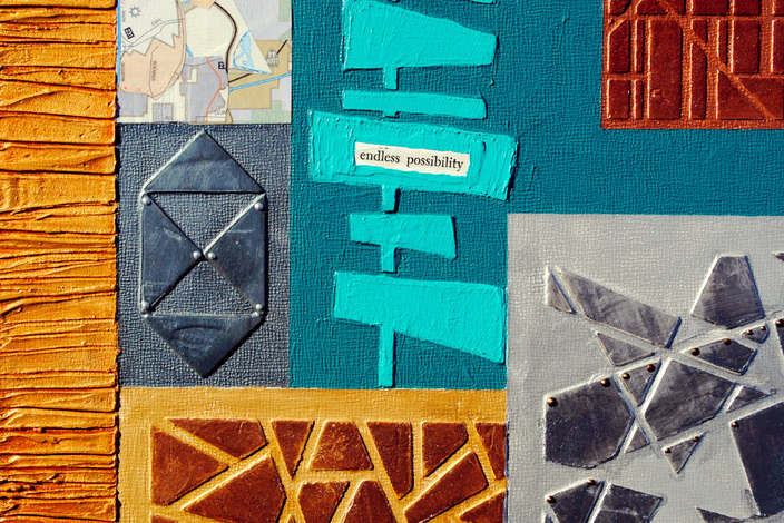 ©2013 Mary C. Nasser, Endless Possibility (detail), mixed-media/acrylic on cradled artist panel, 12 x 12 inches