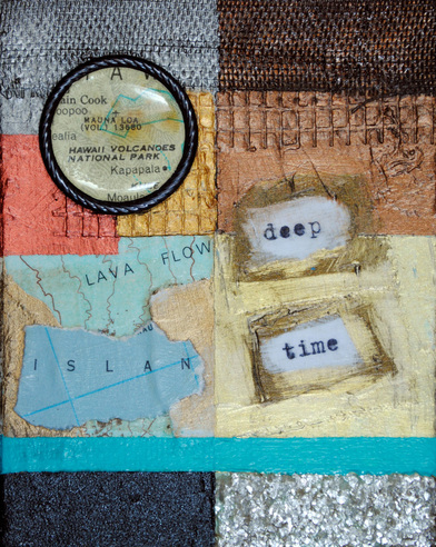 ©2012 Mary C. Nasser, Deep Time, mixed-media/acrylic on canvas, 2 x 3 inches