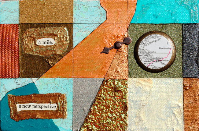 ©2012 Mary C. Nasser, A Mile, mixed-media/acrylic on canvas, 4 x 6 inches