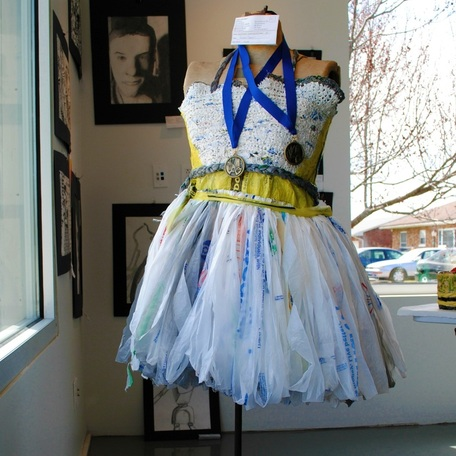 Dress on display - designed and worn by one of the local high school students.