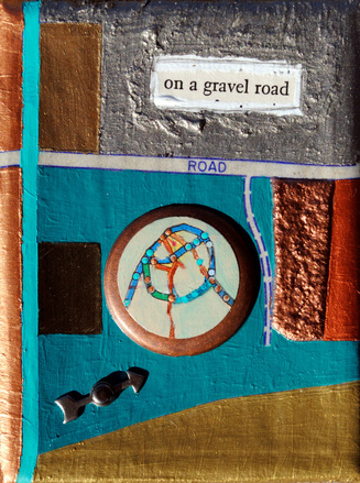 ©2013 Mary C. Nasser, On a Gravel Road, mixed-media/acrylic on canvas, 3 x 4 inches