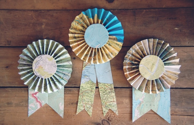 Recycled Map Prize Ribbons