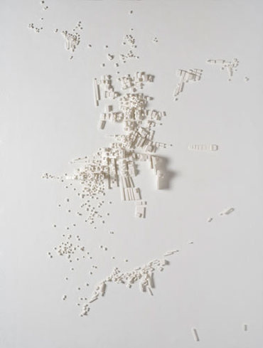 Cityscape 1, 2007, Foam core on wallboard, 30 x 40 inches