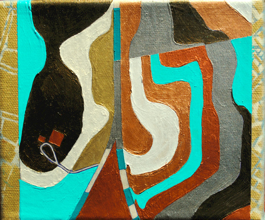 ©2012 Mary C. Nasser, Two Roads, mixed-media/acrylic on canvas, 5 x 6 inches
