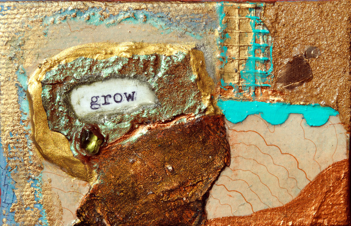 ©2012 Mary C. Nasser, Grow, mixed-media/encaustic on canvas, 2 x 3 inches