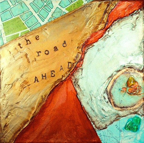 ©2012 Mary C. Nasser, The Road Ahead, mixed-media/acrylic on canvas, 6 x 6 inches
