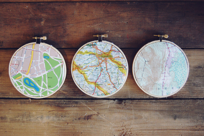 Vintage Map Embroidery Hoop Hangings