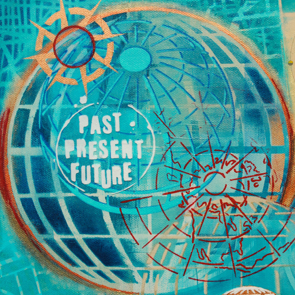 ©2014 Mary C. Nasser, Time (detail), mixed-media/acrylic on canvas, 12 x 18 inches