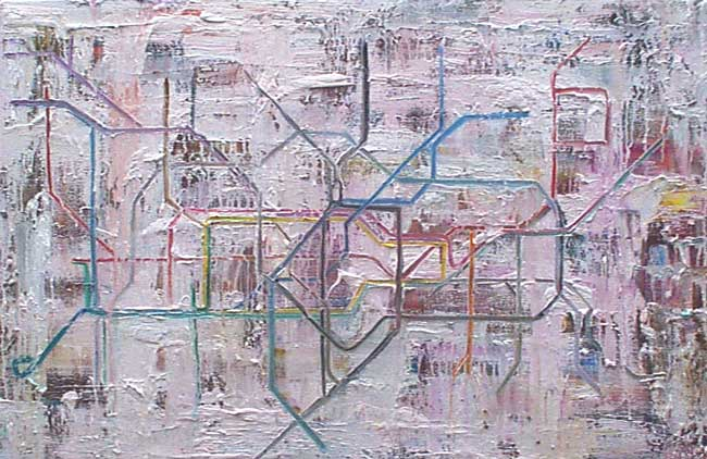 Study of the London Underground, oil on canvas