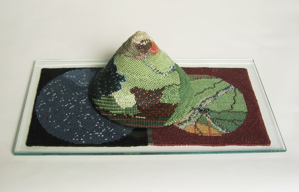 Movable map, Cotton and metallic yarns, glass, 7 x 13 x 5 inches