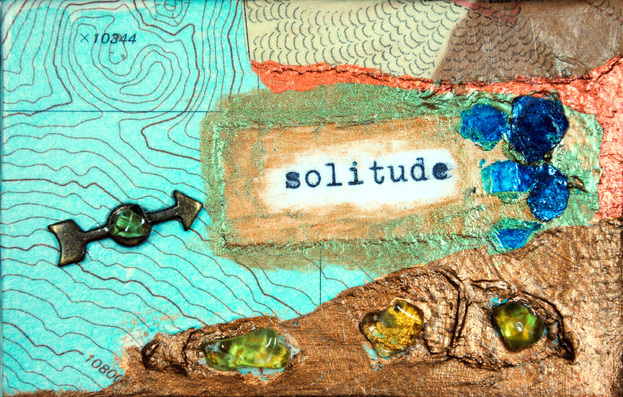 ©2012 Mary C. Nasser, Solitude, mixed-media/acrylic on canvas, 2 x 3 inches