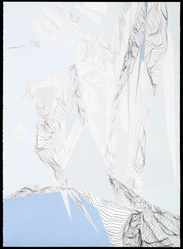 Dissolution, 2009, acrylic paint and graphite on paper, 36 x 50 inches