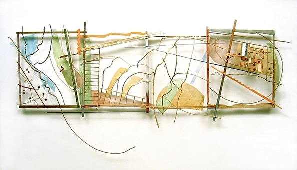 LandLines, Painted wood and vine, paper, Mylar, 35 x 120 x 8 inches