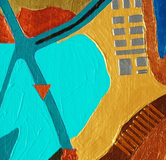 ©2014 Mary C. Nasser, West (detail), mixed-media/acrylic on canvas, 5 x 7 inches
