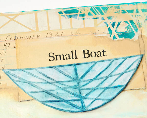 ©2019 Mary C. Nasser, Small Boat (detail), mixed-media on cradled wood panel, 8 x 8 inches