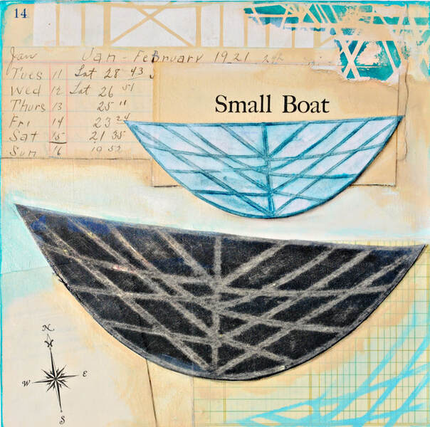 ©2019 Mary C. Nasser, Small Boat, mixed-media on cradled wood panel, 8 x 8 inches
