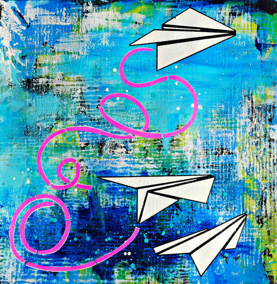 Mary C. Nasser, Mixed Media Art Journaling with Paper Airplane Stencil